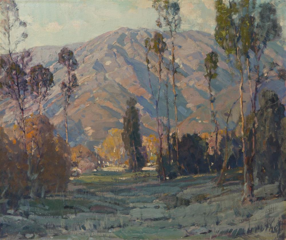"Hanson Duvall Puthuff, (1875-1972 Corona Del Mar, CA), ""Where Hill and Valley Meet"", Oil on canvas, 20"" H x 24"" W"