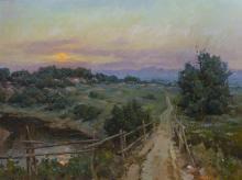 "Ovanes Berberian, (b. 1951 American), Sunrise over a hillside landscape, Oil on canvas, 36"" H x 48"" W"