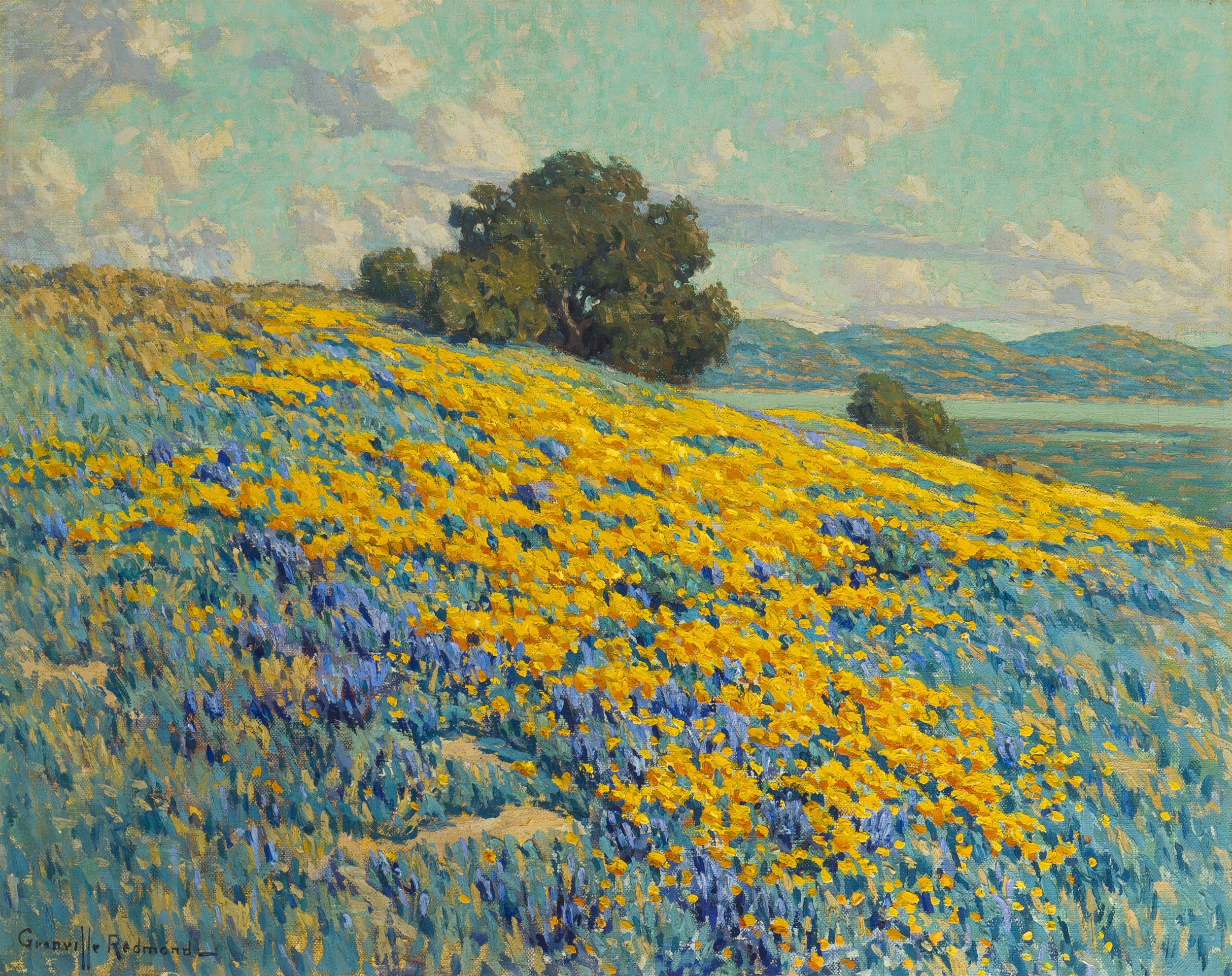 """Granville Redmond, (1871-1935 Los Angeles, CA), California landscape with poppies and lupine, Oil on canvas, 20.25"""" H x 25.25"""" W"""