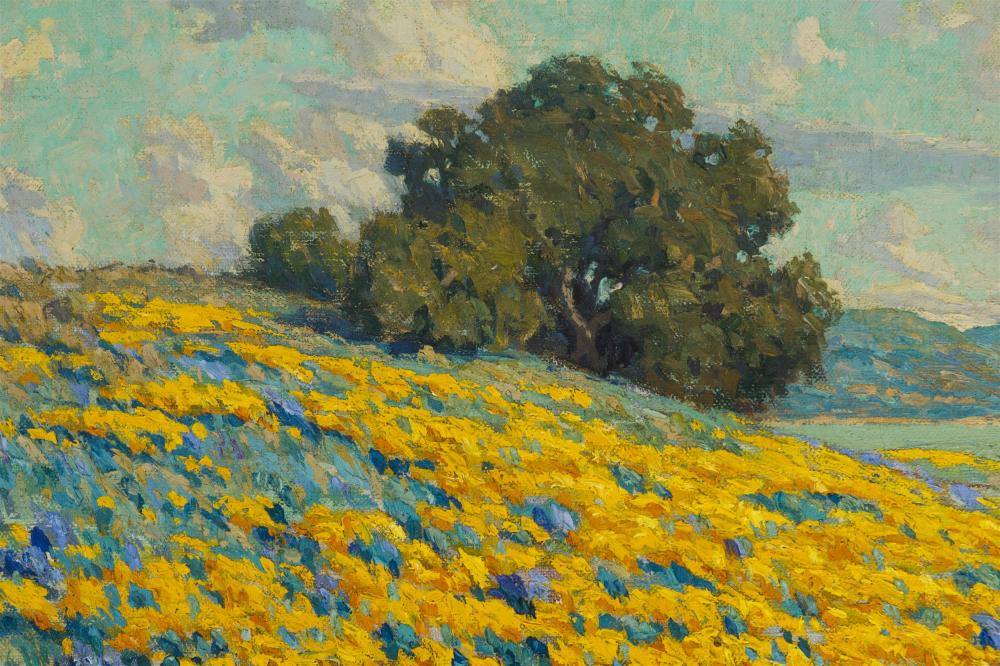 Granville Redmond, (1871-1935 Los Angeles, CA), California landscape with poppies and lupine, Oil on canvas, 20.25