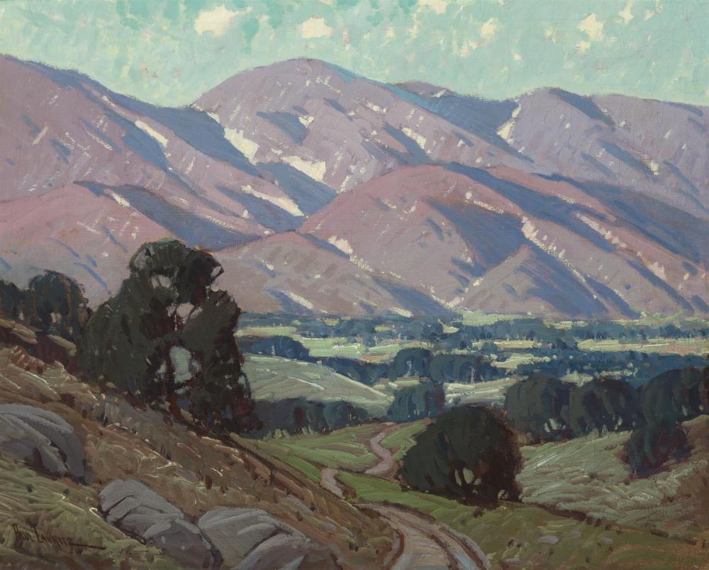 """Paul Lauritz, (1889-1975 Glendale, CA), """"The Evening Hour, Sierra Madre, Cal."""", Oil on canvas, 24.25"""" H x 30.25"""" W"""