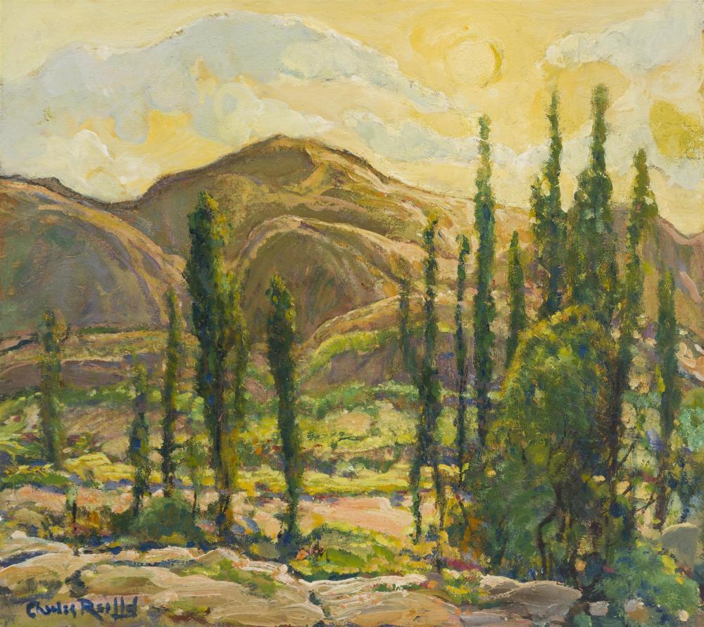 """Charles Reiffel, (1862-1942 San Diego, CA), """"Sun Up"""", Oil on board, 17.75"""" H x 19.75"""" W"""