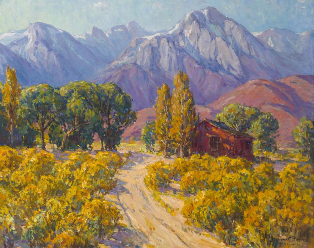 """Benjamin Chambers Brown, (1865-1942 Pasadena, CA), House near Mt. Whitney, Oil on canvas laid to canvas, 40.5"""" H x 50"""" W"""