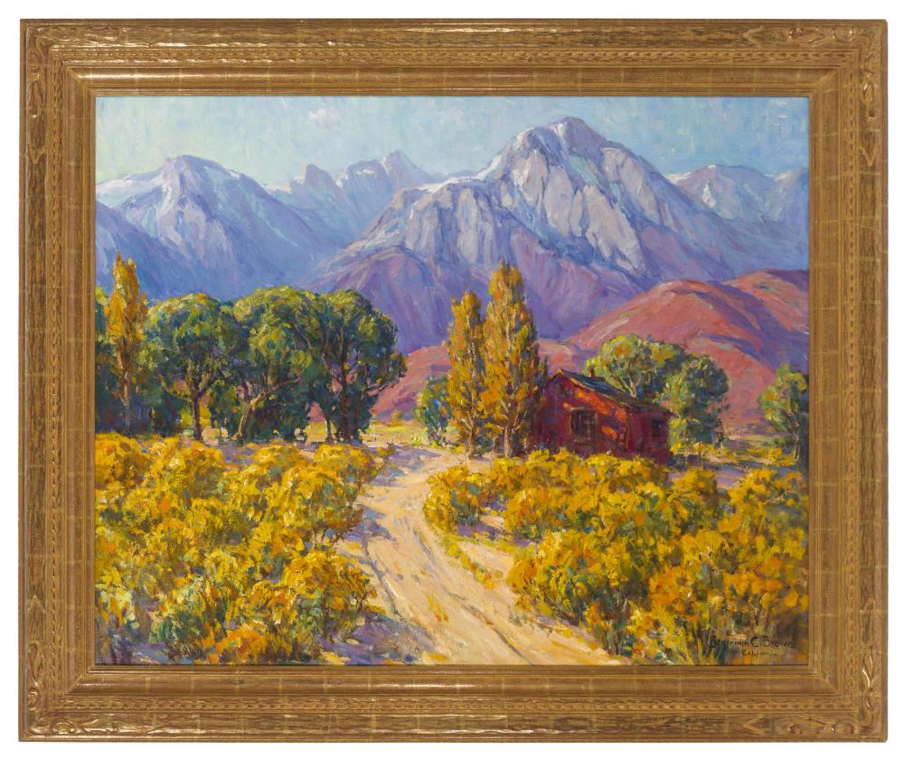 Benjamin Chambers Brown, (1865-1942 Pasadena, CA), House near Mt. Whitney, Oil on canvas laid to canvas, 40.5