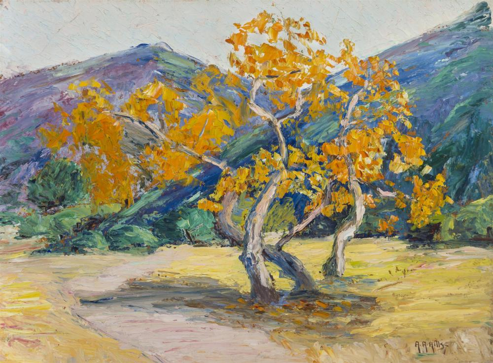 "Anna A. Hills, (1882-1930 Laguna Beach, CA), Sycamore trees in a landscape, Oil on board laid to masonite, 12"" H x 16"" W"