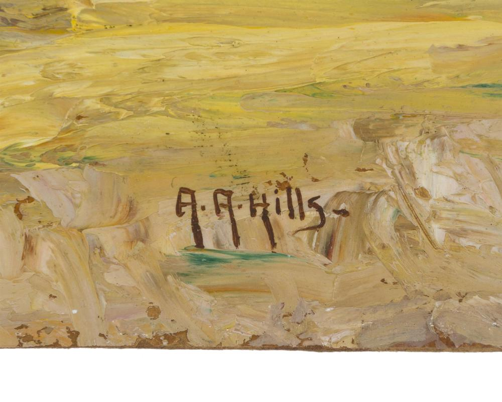 Anna A. Hills, (1882-1930 Laguna Beach, CA), Sycamore trees in a landscape, Oil on board laid to masonite, 12