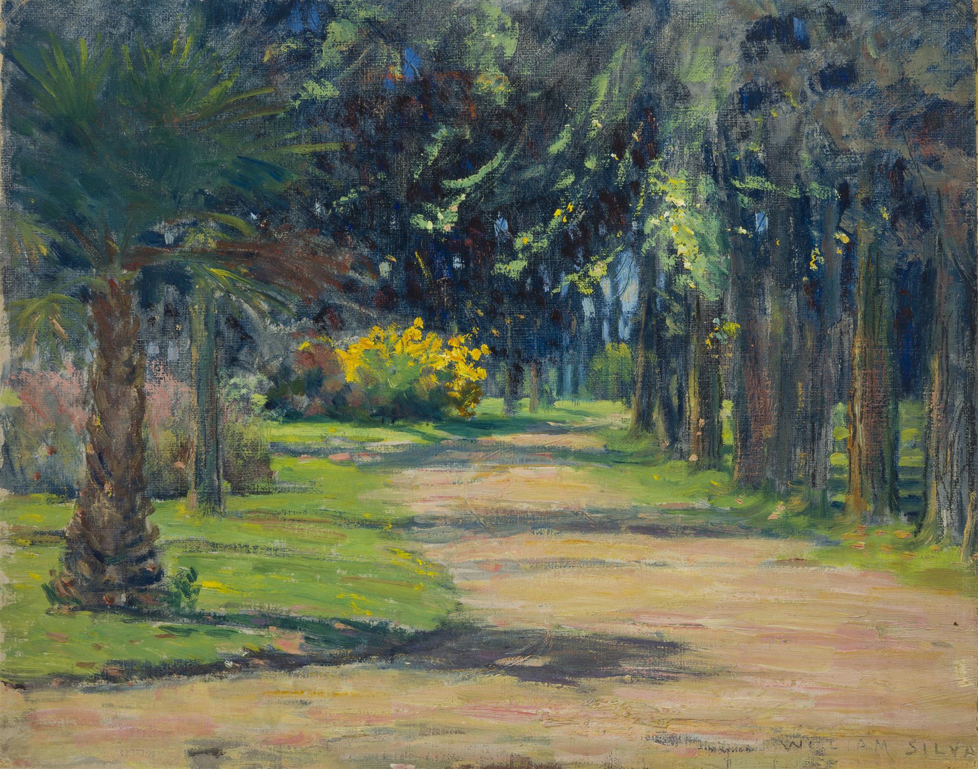 "William Posey Silva, (1859-1948 Carmel, CA), ""Road Thru Park - Sacramento"", Oil on canvasboard, 12"" H x 15"" W"