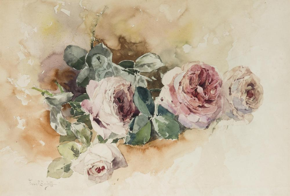 """Franz A. Bischoff, (1864-1929 Pasadena, CA), """"Four Red and Lavender Roses"""", Watercolor on paper under Plexiglas, Sight: 12.5"""" H x 18.25"""