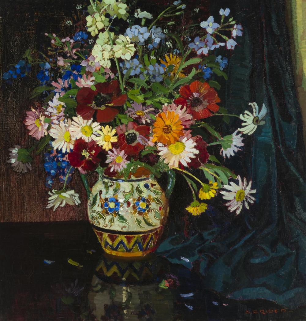 """Arthur Grover Rider, (1886-1975 Pasadena, CA), Still life with flowers in a vase, Oil on canvas, 28.5"""" H x 27.25"""" W"""