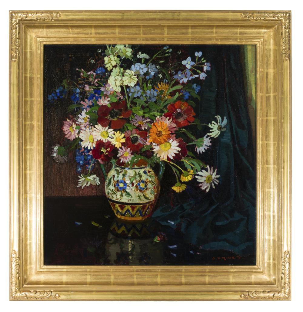 Arthur Grover Rider, (1886-1975 Pasadena, CA), Still life with flowers in a vase, Oil on canvas, 28.5