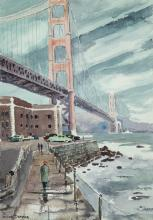 """William Dampier, (1910-1985, Los Angeles, CA), Golden Gate from Fort Point, Watercolor on paper under glass, Sight: 26"""" H x 17.75"""" W; S"""