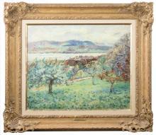 Emmanuel De La Villeon, (1858 - 1944 French), 'Noneaz, pres du Lac de Neufchatel', 1894, Oil on canvas, 21.50' H x 25.75' W