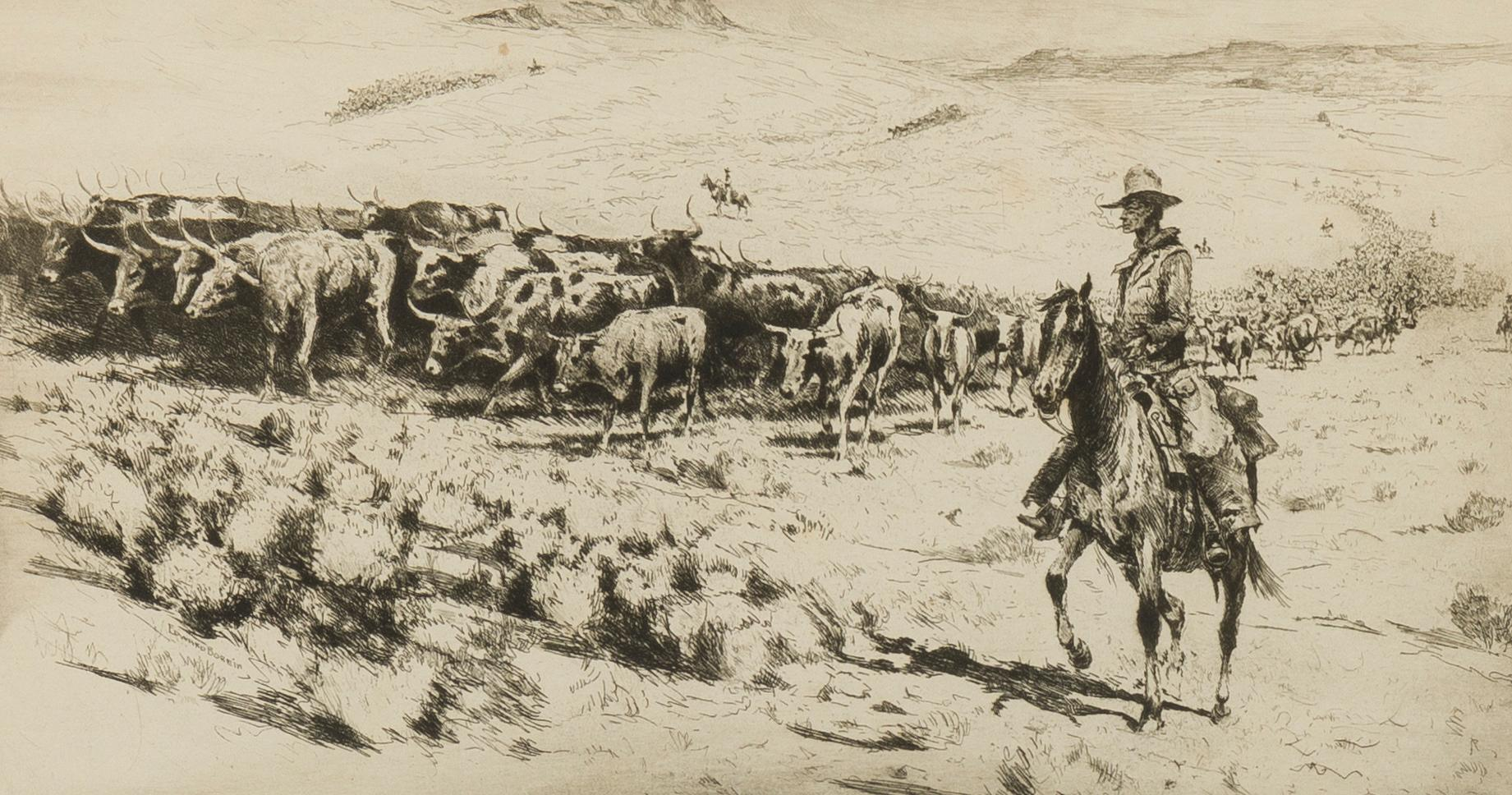 """Edward Borein, (1872-1945 Santa Barbara, CA), """"Trail Herd No. 2"""", Etching and drypoint on paper under glass, Plate: 7"""" H x 12.75"""" W"""