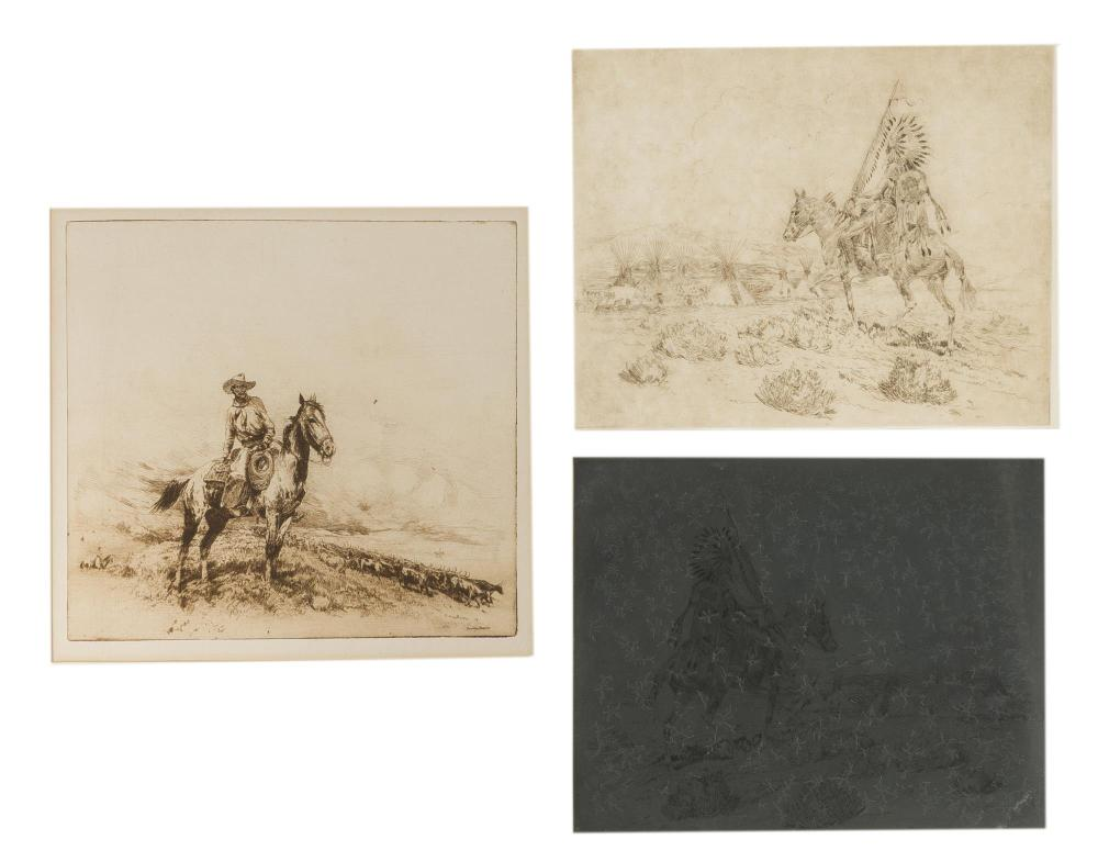 """Edward Borein, (1872-1945 Santa Barbara, CA), """"Trail Boss"""" and """"Painted Teepees"""" (two works), Each: Etching and drypoint on paper under"""