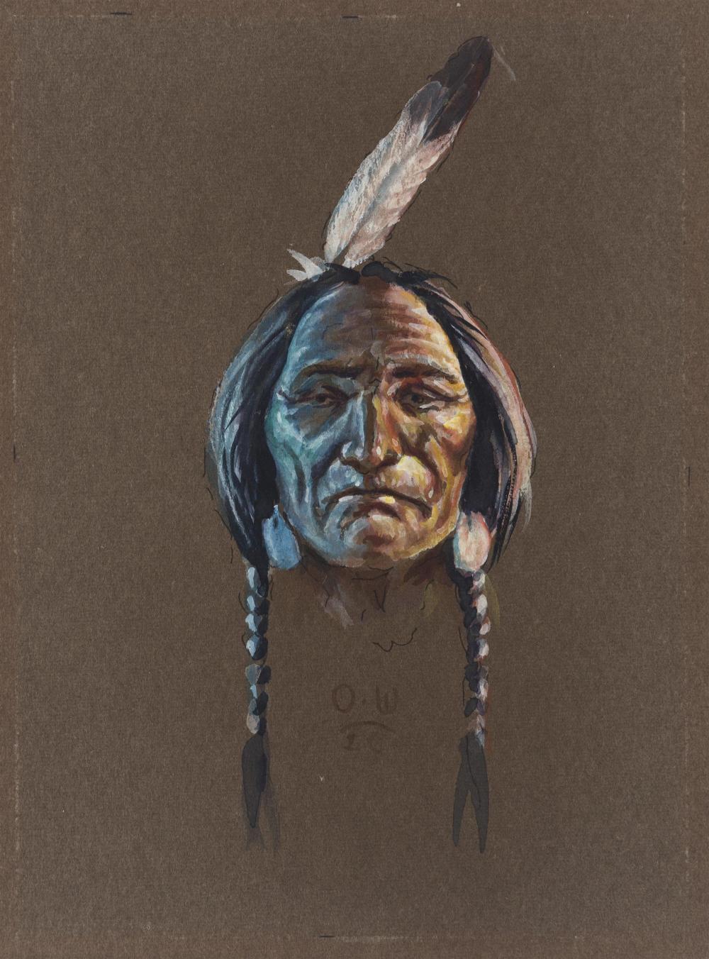 "Olaf Wieghorst, (1899-1988 El Cajon, CA), Portrait of an American Indian brave, Gouache on paper under glass, Sight: 6.75"" H x 4.75"" W"