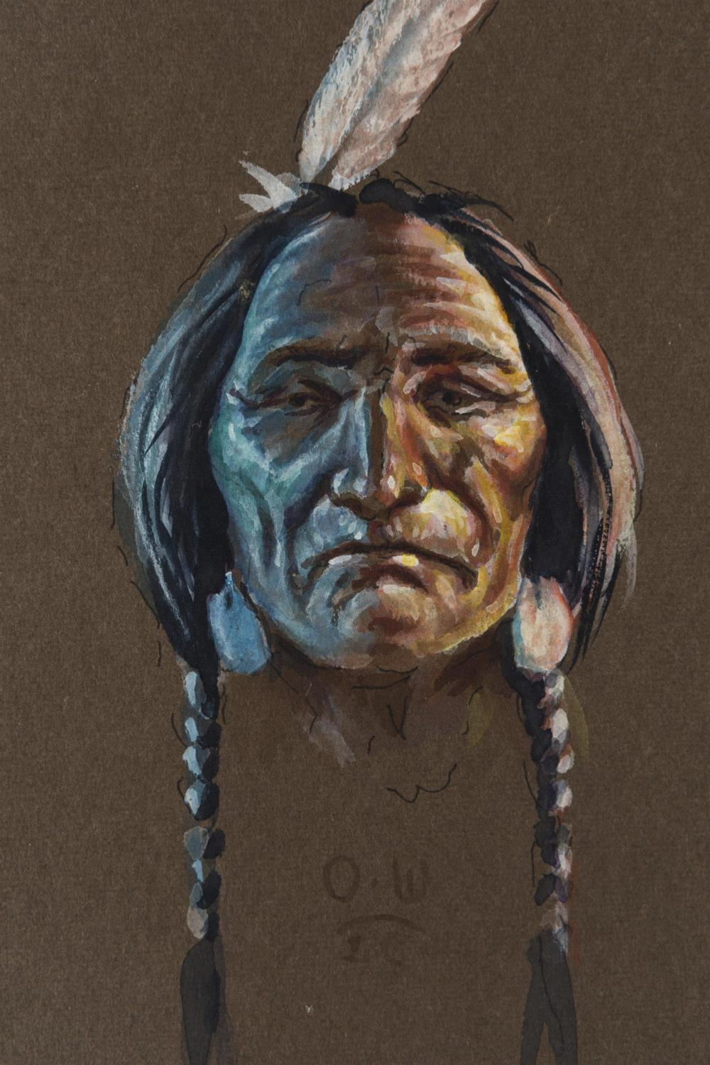 Olaf Wieghorst, (1899-1988 El Cajon, CA), Portrait of an American Indian brave, Gouache on paper under glass, Sight: 6.75