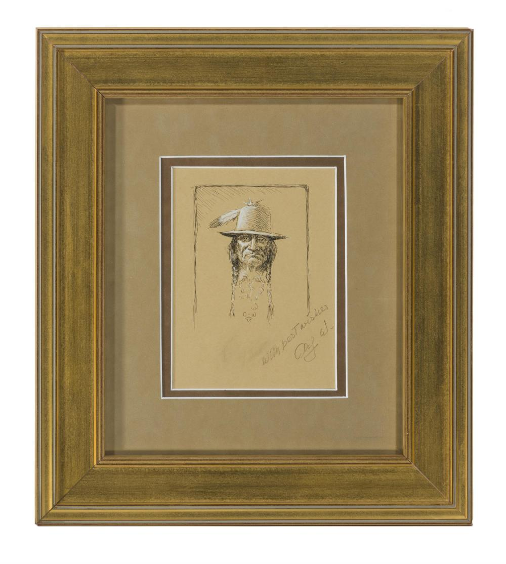 Olaf Wieghorst, (1899-1988 El Cajon, CA), Portrait of an American Indian in a hat with feather, Ink and gouache on paper under glass, S