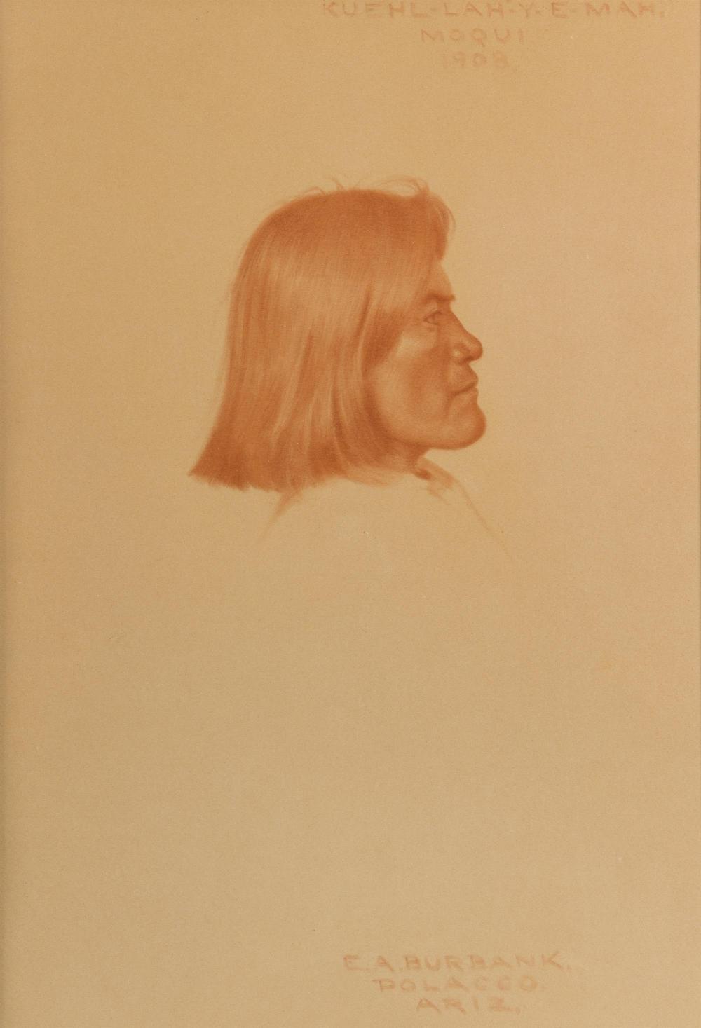 "Elbridge Ayer Burbank, (1858-1949 San Francisco, CA), ""Kuehl-lah-y-e-mah,"" 1908, Conte crayon on paper under glass, Sight: 14.5"" H x 10"