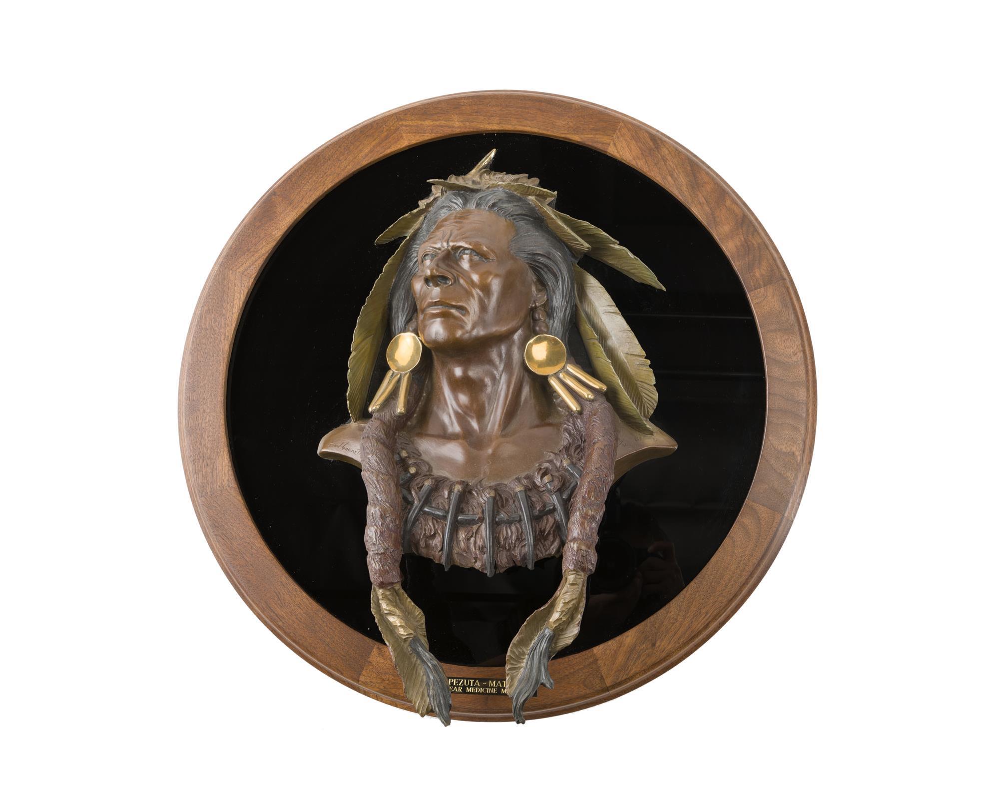 "Dan Garrett, (b. 1948 Wyoming), ""Pezuta-Mato"" Bear Medicine Man, Polychrome, patinated and gilt bronze on glass and wood wall plaque, S"