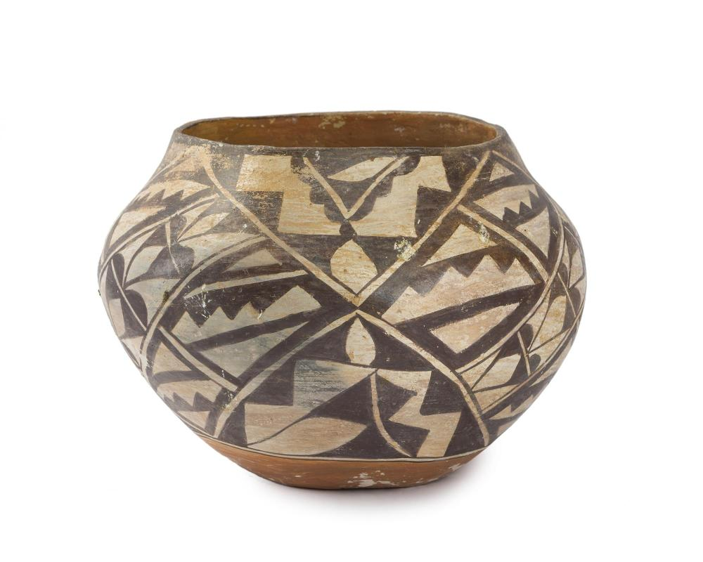 An Acoma polychrome olla-form pottery bowl