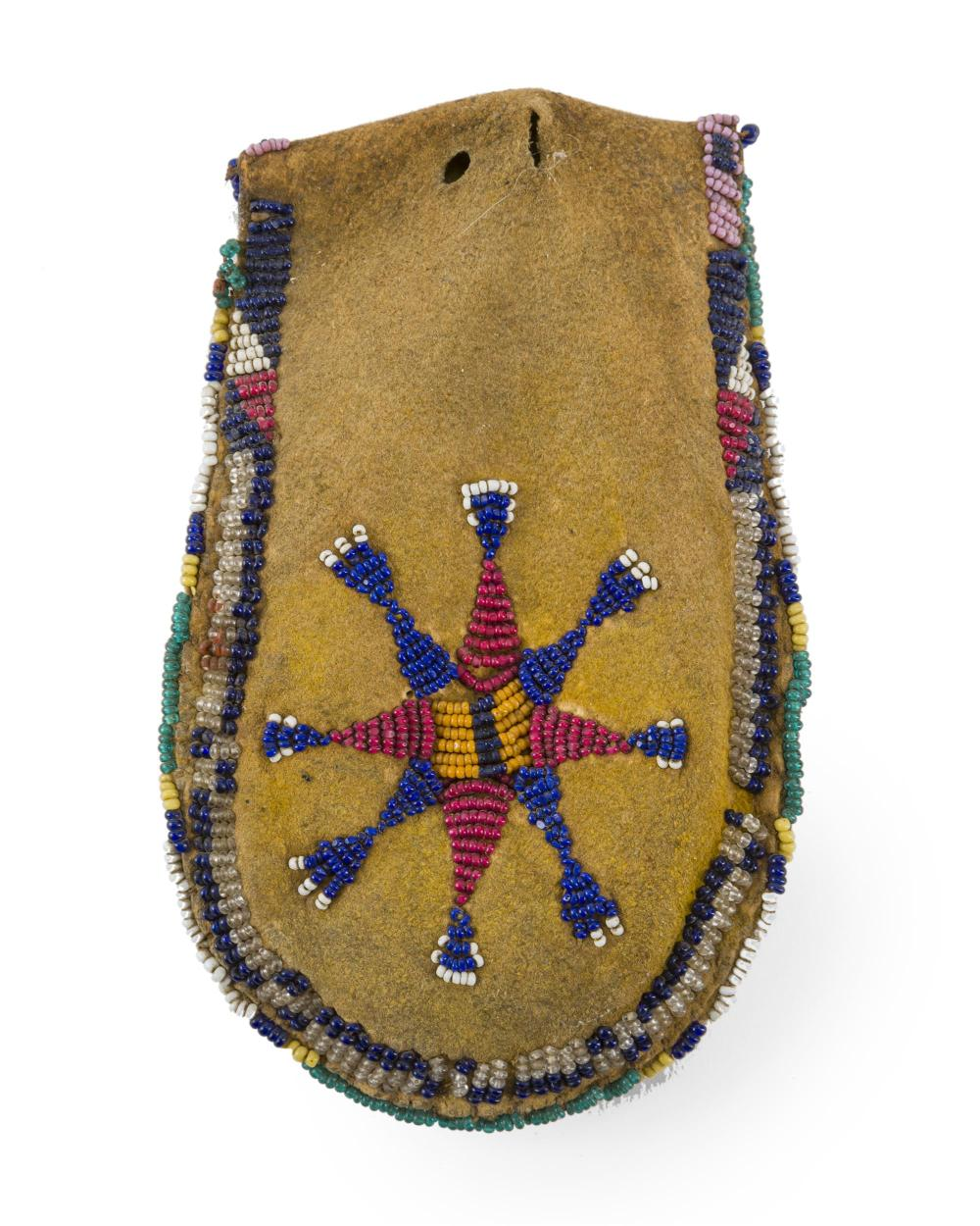 A Plains Indian beaded hide token bag
