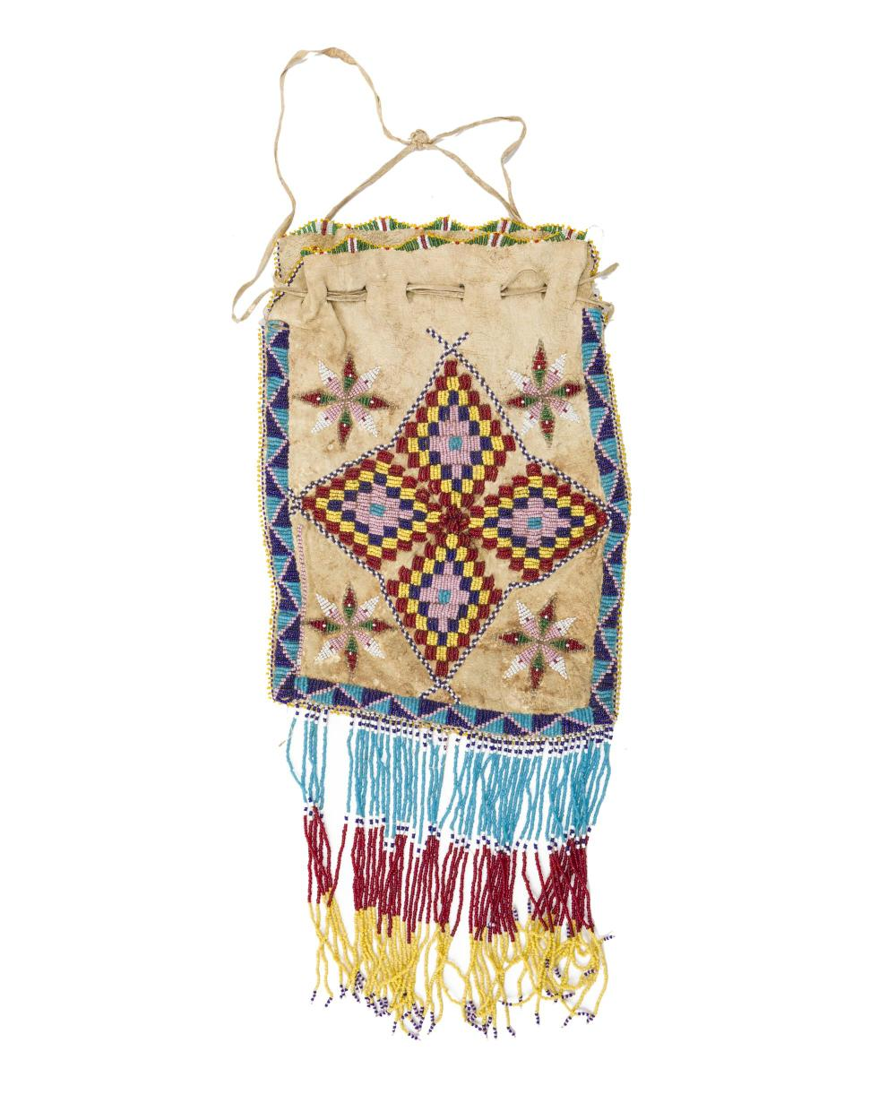 A Plains Indian beaded amulet bag