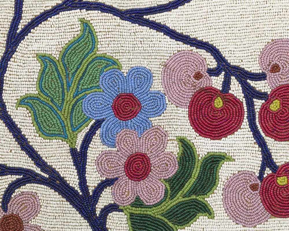 A Great Lakes beaded cloth bandolier bag
