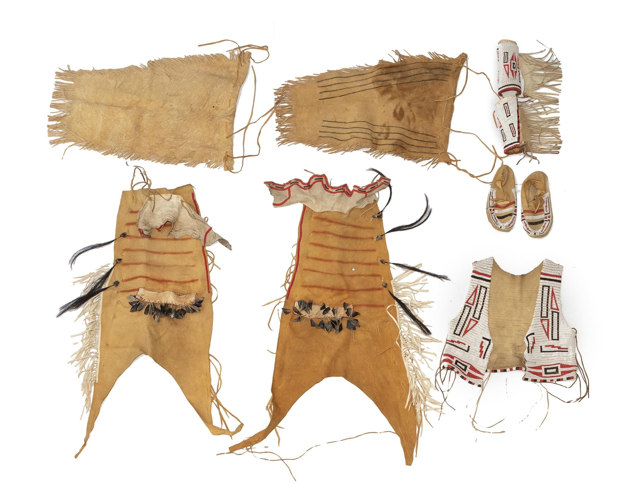 A Plains man's beaded hide outfit