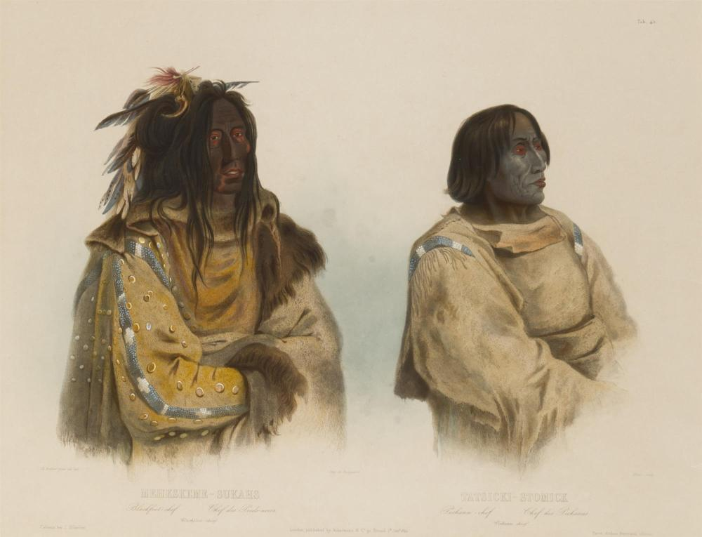 "Karl Bodmer, (1809-1893 French), ""Mehkskeme-Sukahs - Blackfoot-chief / Tatsicki-Stomick - Piekann-chief,"" plate 45 (from ""Travels in th"
