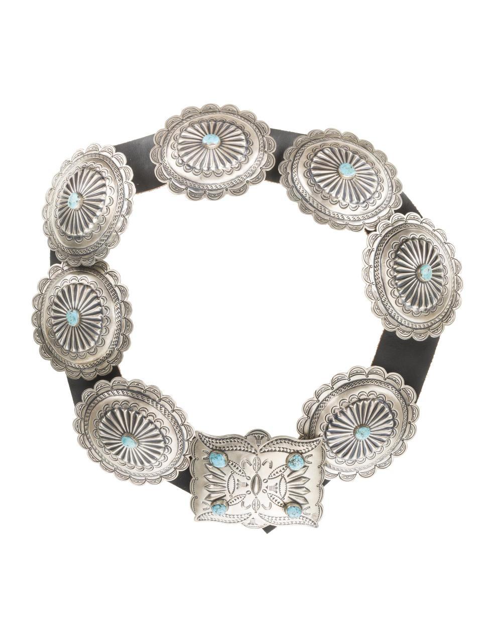 A Navajo silver concho belt