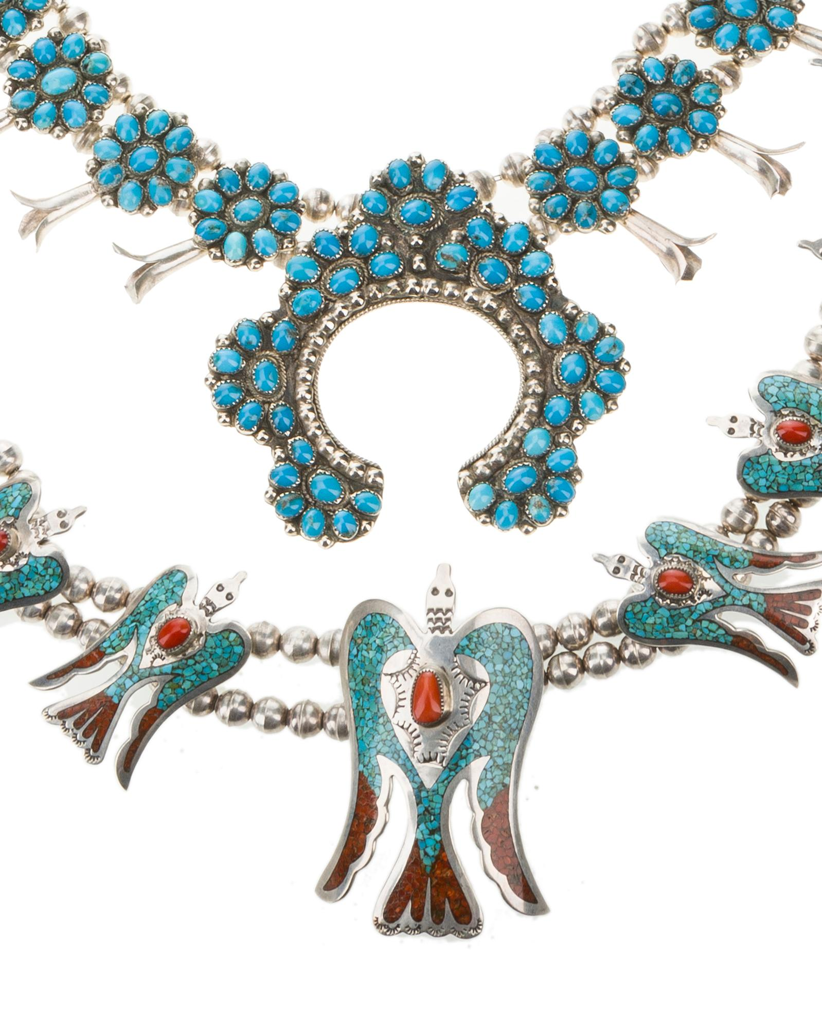 Two American Indian gem-set silver necklaces