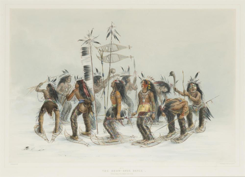 """George Catlin, (1796-1872 Jersey City, NJ), """"The Snow-Shoe Dance,"""" 1844-45, plate 14 (from the """"North American Indian Portfolio""""), Hand"""
