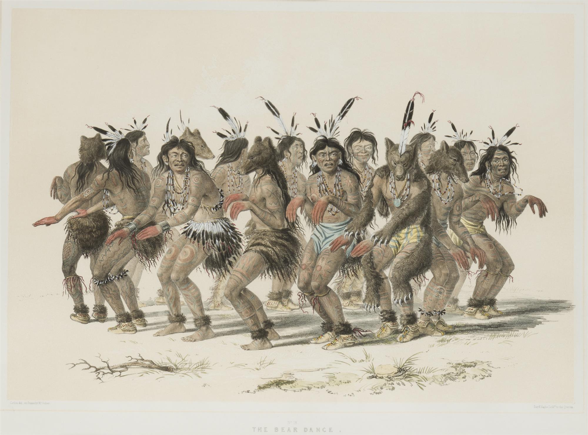 """George Catlin, (1796-1872 Jersey City, NJ), """"The Bear Dance,"""" 1844-45, plate 18 (from the """"North American Indian Portfolio""""), Hand-colo"""