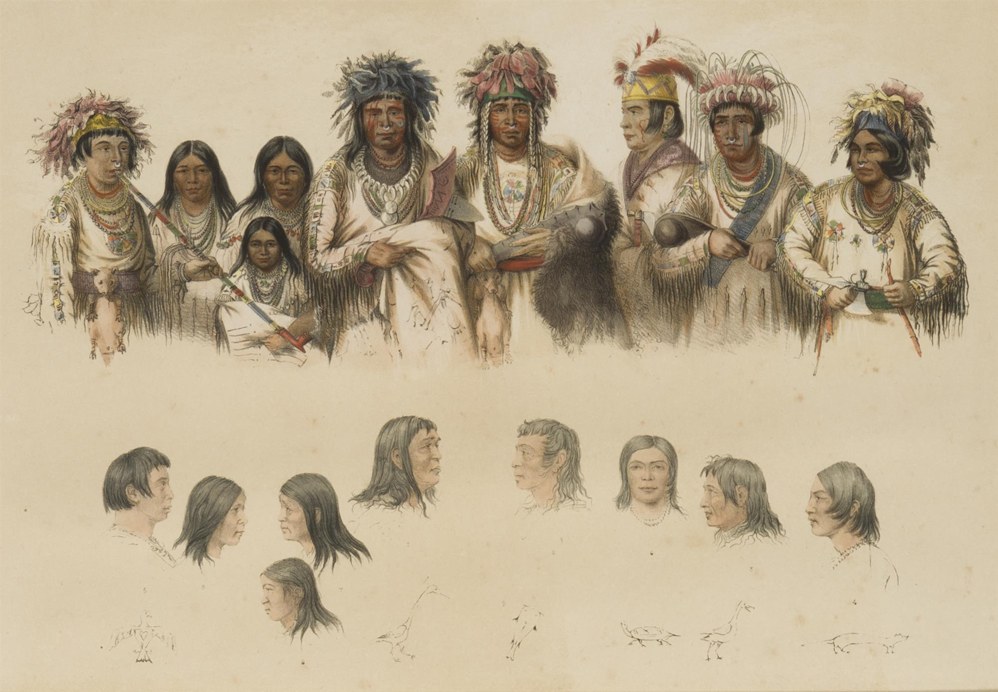 "George Catlin, (1796-1872 Jersey City, NJ), Ojibwe Indians, Hand-colored lithograph on paper laid to board under glass, Sight: 11"" H x"