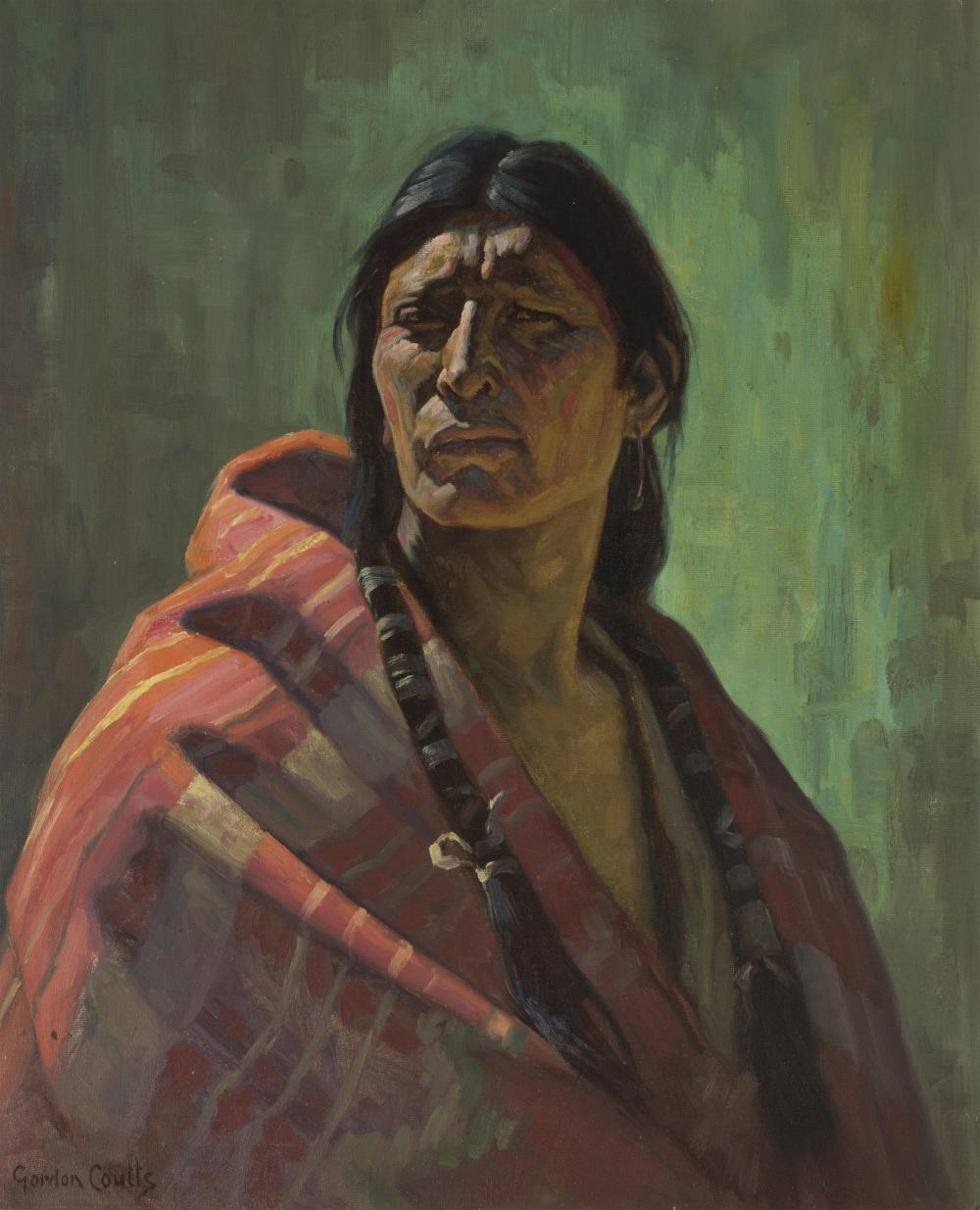 "Gordon Coutts, (1868-1937 Palm Springs, CA), Young American Indian brave, Oil on canvas, 29.5"" H x 24"" W"