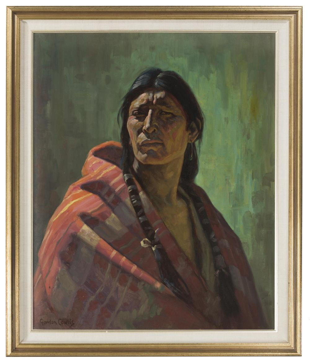 Gordon Coutts, (1868-1937 Palm Springs, CA), Young American Indian brave, Oil on canvas, 29.5