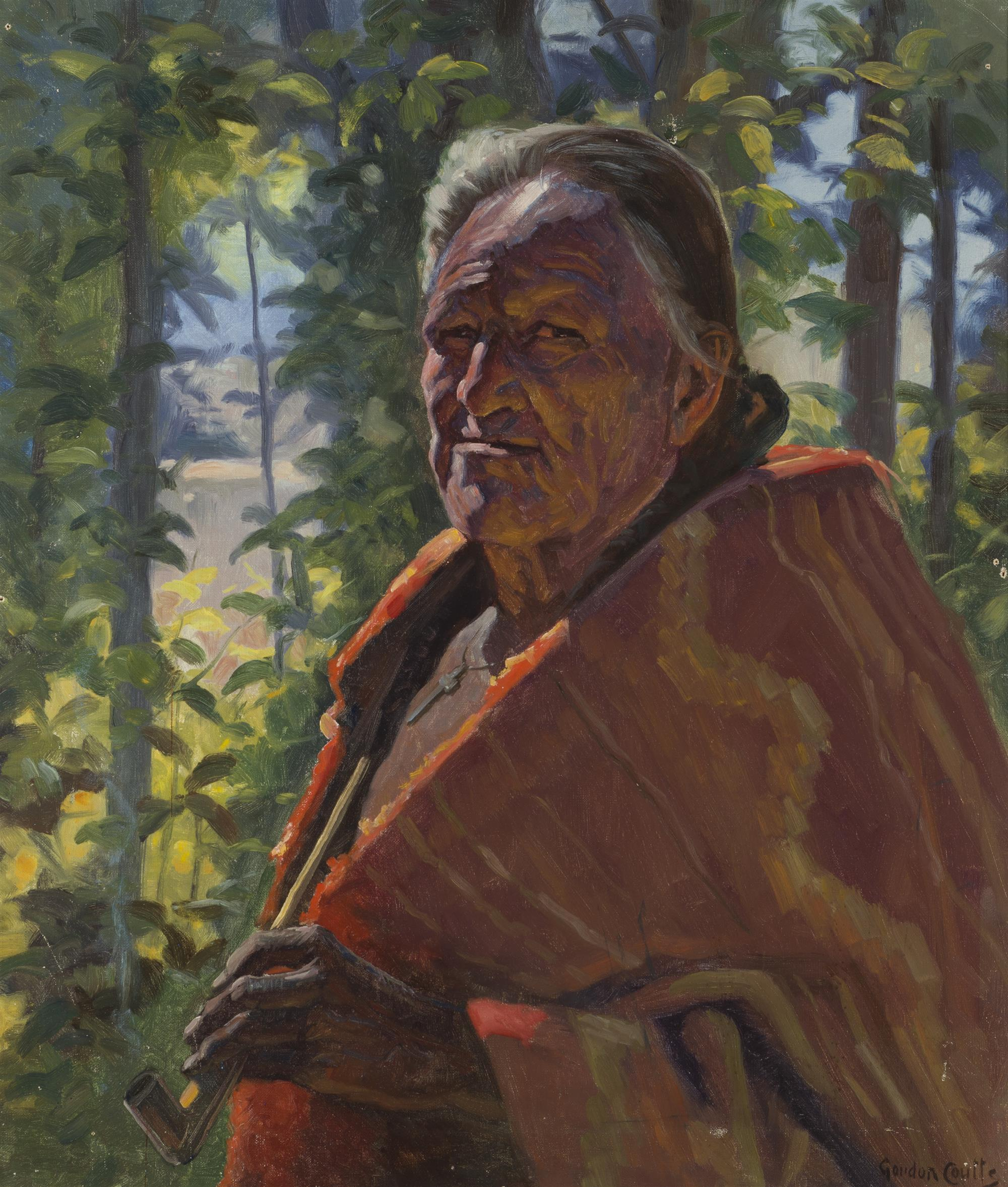 """Gordon Coutts, (1868-1937 Palm Springs, CA), Elderly American Indian with pipe, Oil on canvas, 28"""" H x 24"""" W"""