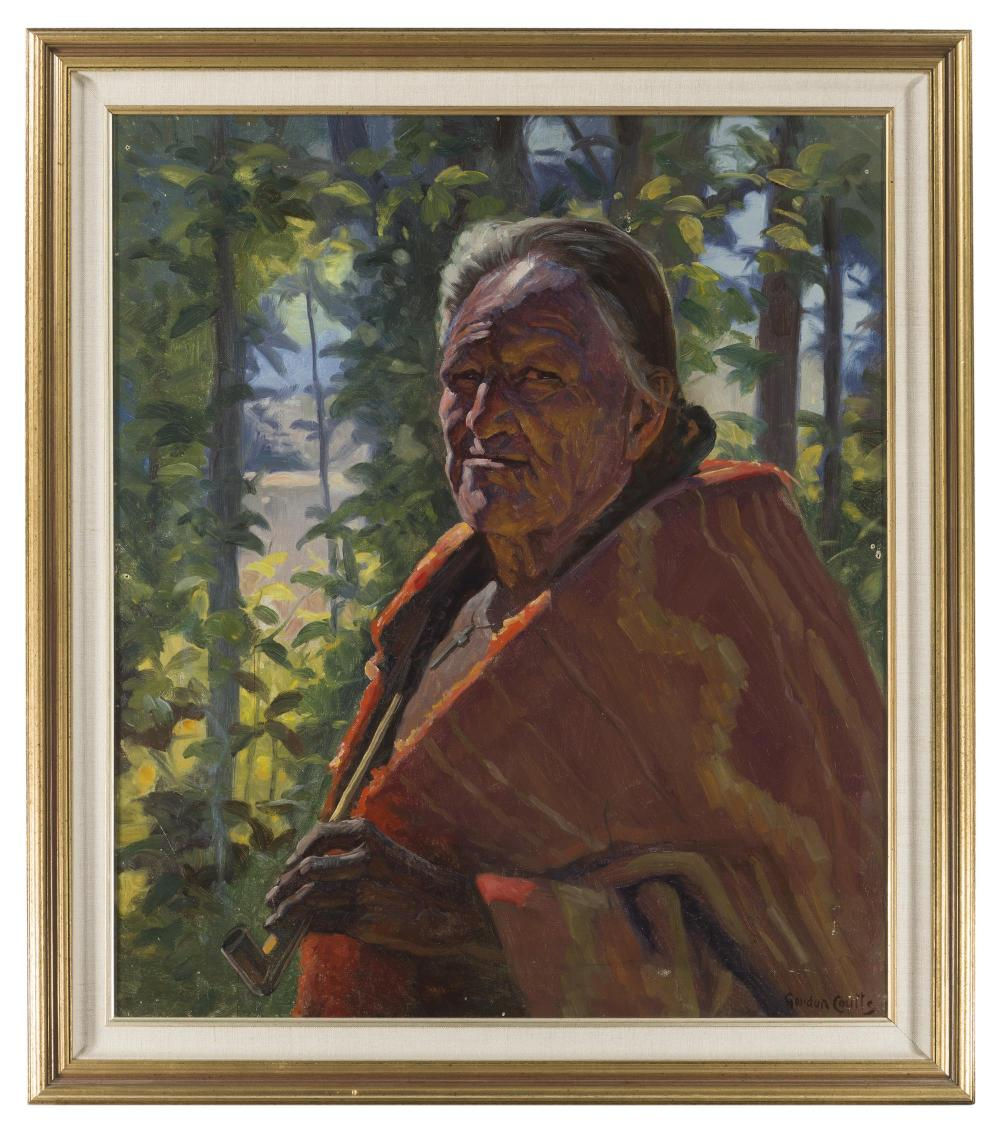 Gordon Coutts, (1868-1937 Palm Springs, CA), Elderly American Indian with pipe, Oil on canvas, 28