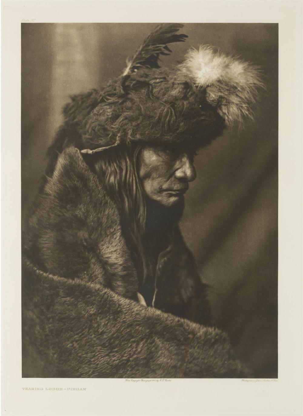 "Edward S. Curtis, (1868-1952 Los Angeles, CA), ""Tearing Lodge - Piegan,"" 1910, Photogravure on Van Gelder paper under glass, Image: 15."