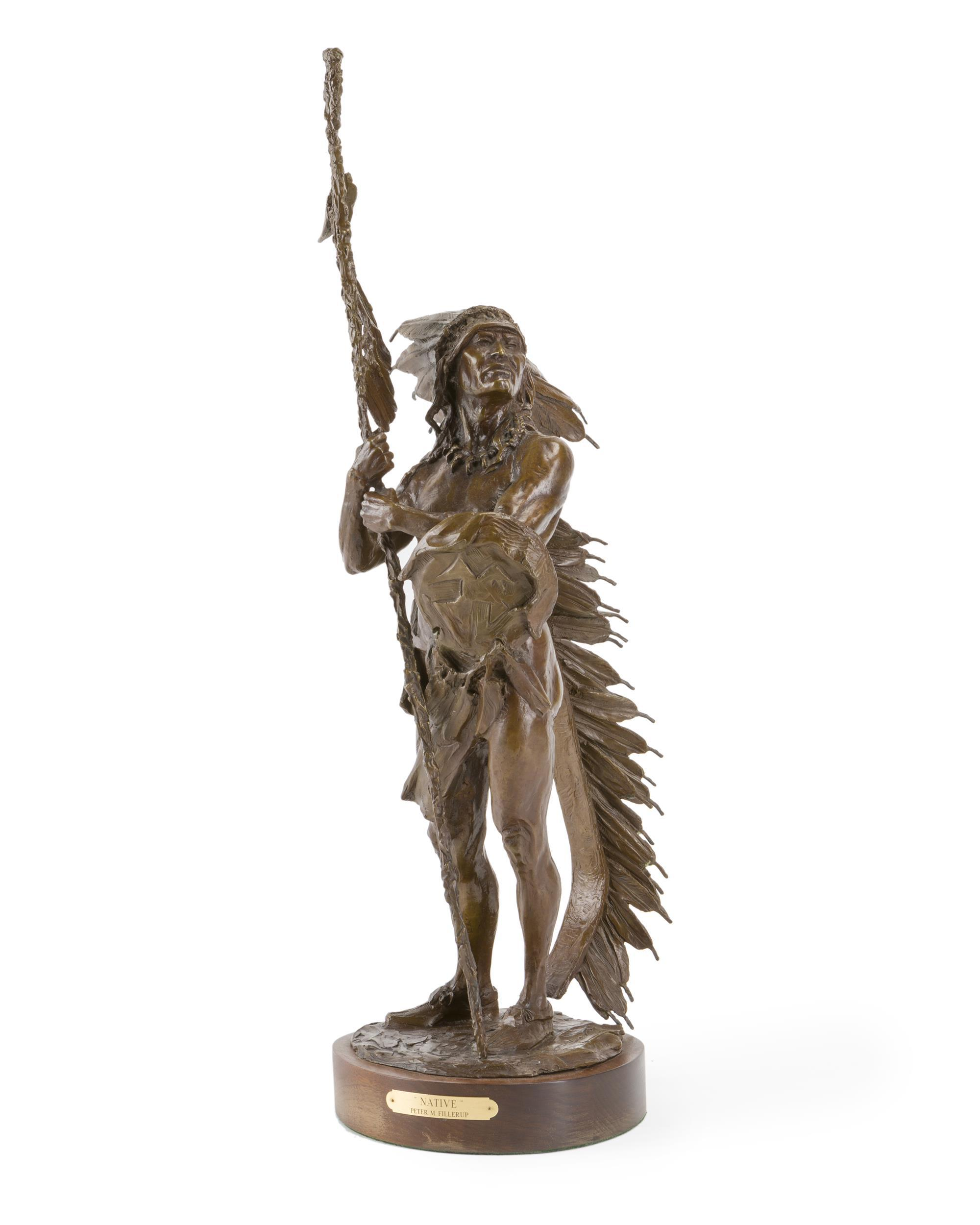 "Peter Fillerup, (b. 1953 Wyoming), Standing American Indian, 1990, Patinated bronze on wood plinth, 29"" H x 8"" W x 9.5"" D"