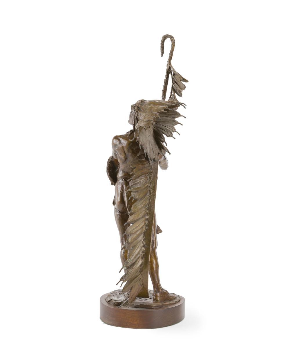Peter Fillerup, (b. 1953 Wyoming), Standing American Indian, 1990, Patinated bronze on wood plinth, 29