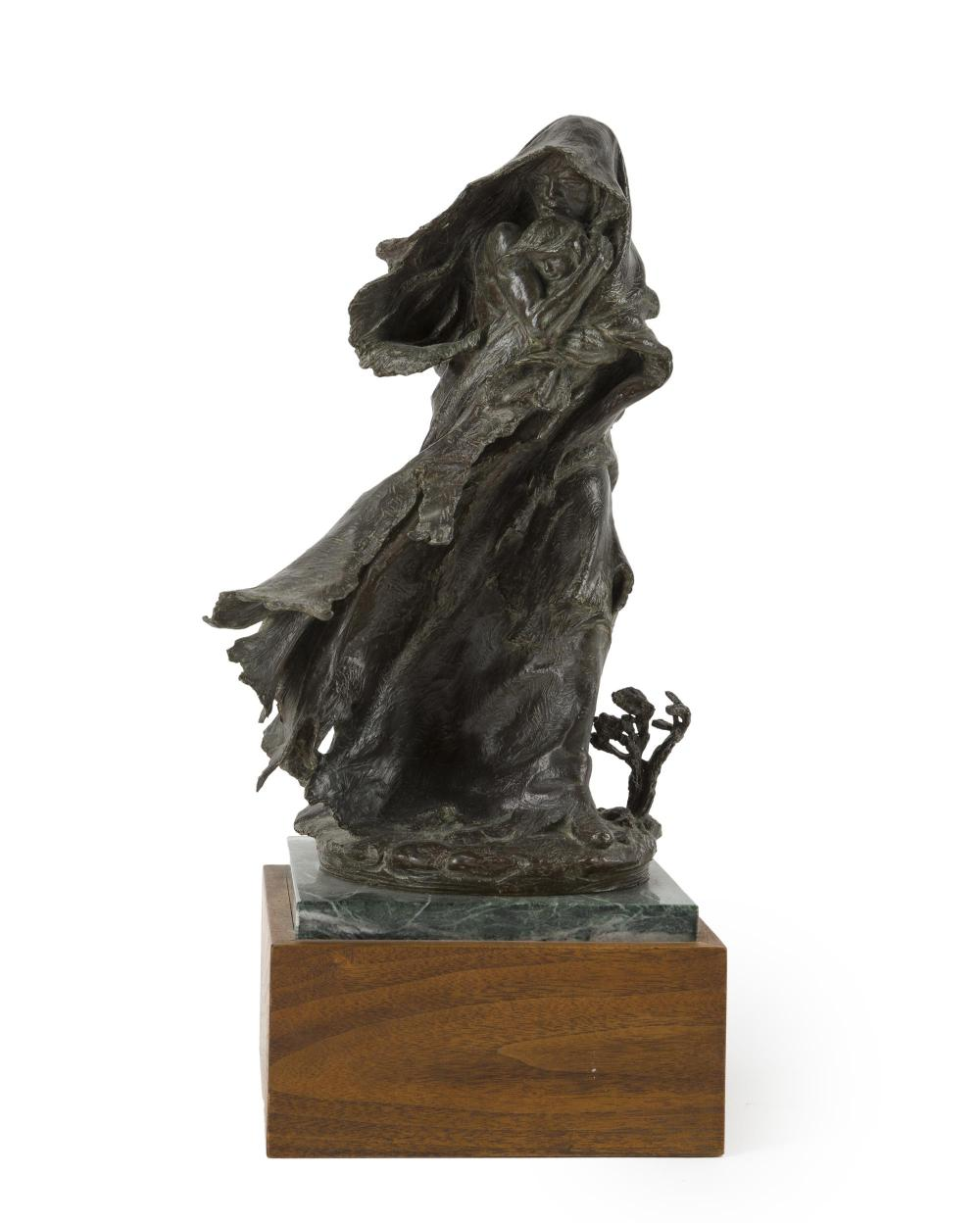 "Edward James Fraughton, (b. 1939, Salt Lake City, UT), ""Trail of Tears,"" 1999, Patinated bronze on green marble and wood plinth, 12"" H"