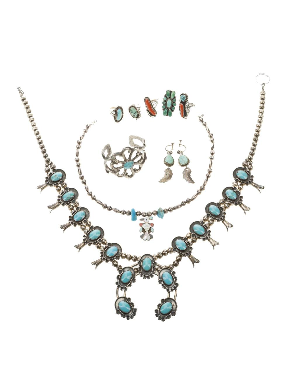A group of American Indian jewelry