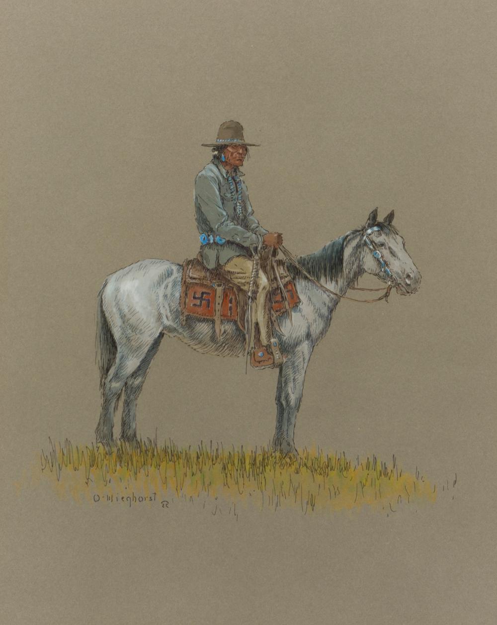 "Olaf Wieghorst, (1899-1988 El Cajon, CA), American Indian on horseback, Gouache and ink on board under glass, Sight: 13"" H x 10.75"" W"