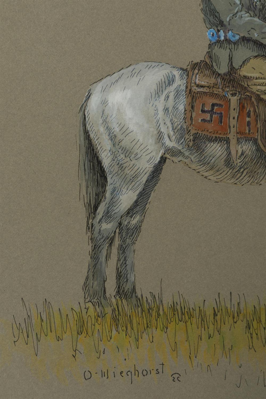Olaf Wieghorst, (1899-1988 El Cajon, CA), American Indian on horseback, Gouache and ink on board under glass, Sight: 13