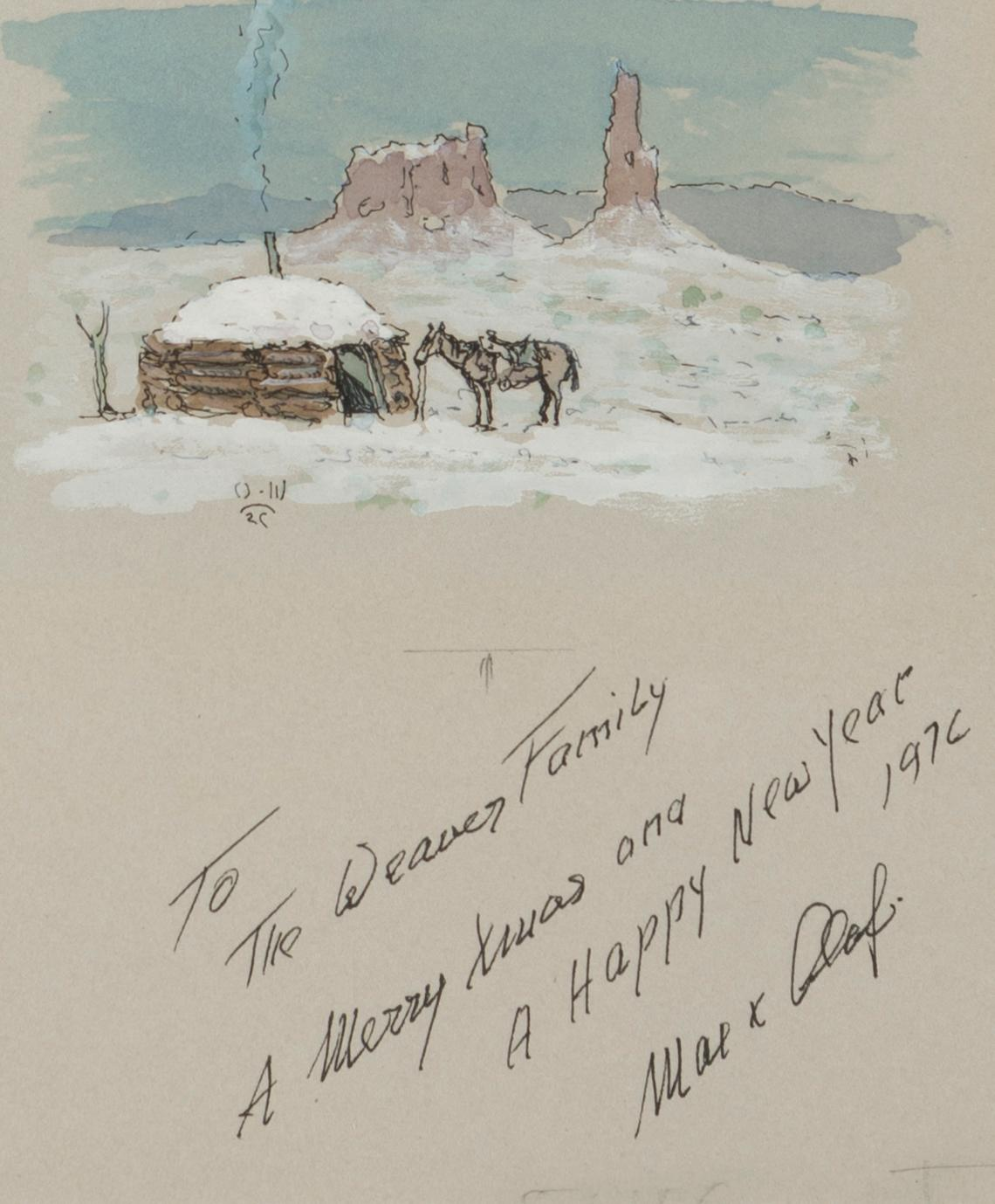"Olaf Wieghorst, (1899-1988 El Cajon, CA), Hogan and horse in the snow, 1976, Gouache and watercolor on paper under glass, Sight: 6.5"" H"