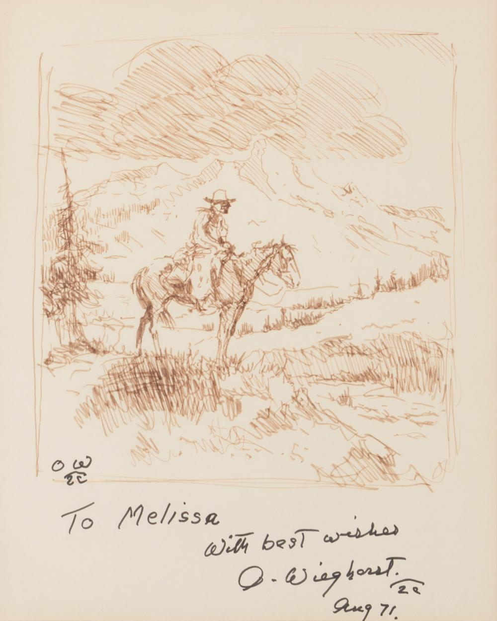 "Olaf Wieghorst, (1899-1988 El Cajon, CA), Horse and rider, 1971, Ink on paper under glass, Sight: 10.5"" H x 8.5"" W"