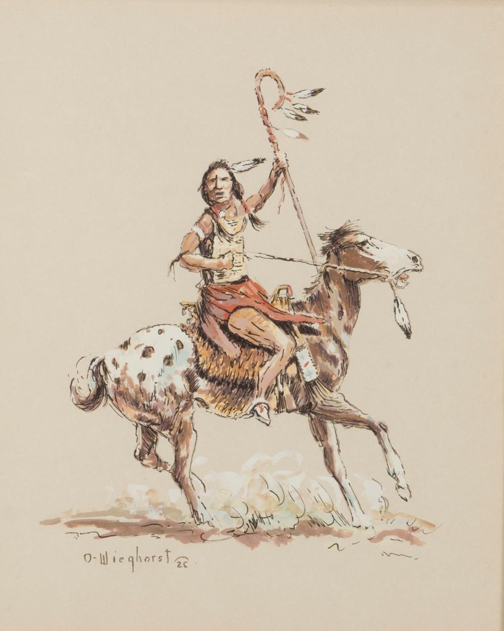 "Olaf Wieghorst, (1899-1988 El Cajon, CA), American Indian on horseback, Gouache and pen on paper under glass, Sight: 11.25"" H x 9.25"" W"