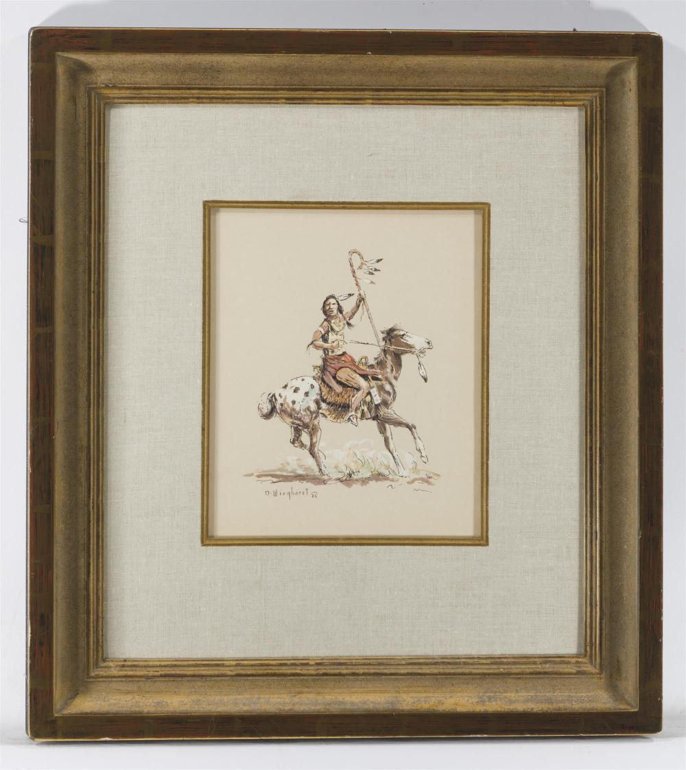 Olaf Wieghorst, (1899-1988 El Cajon, CA), American Indian on horseback, Gouache and pen on paper under glass, Sight: 11.25