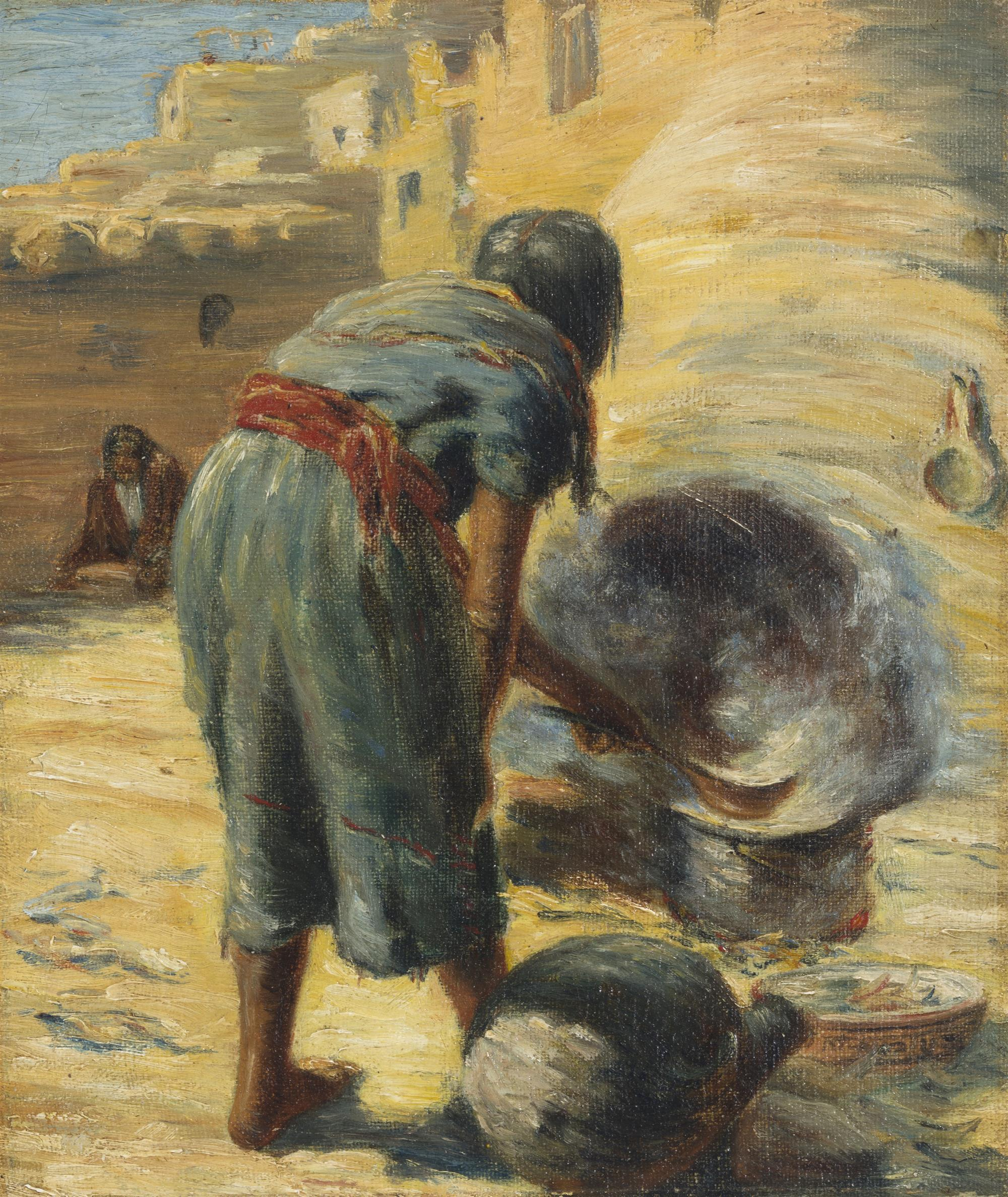 """William Leigh, (1866-1955 New York, NY), """"Zuni Bread Maker"""", Oil on canvas laid to waxed canvas, 8"""" H x 7"""" W"""